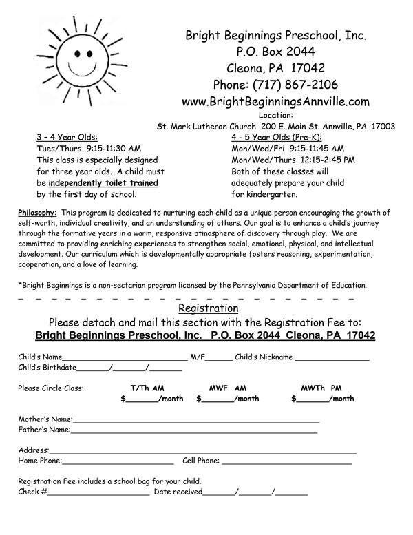 Bright Beginnings Preschool Registration Form